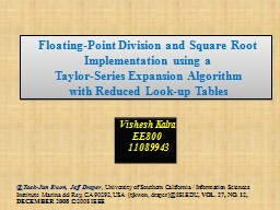 Floating-Point Division and Square Root