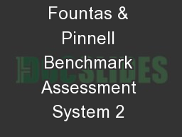 Fountas & Pinnell Benchmark Assessment System 2