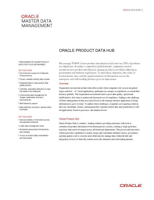 ORACLE PRODUCT DATA