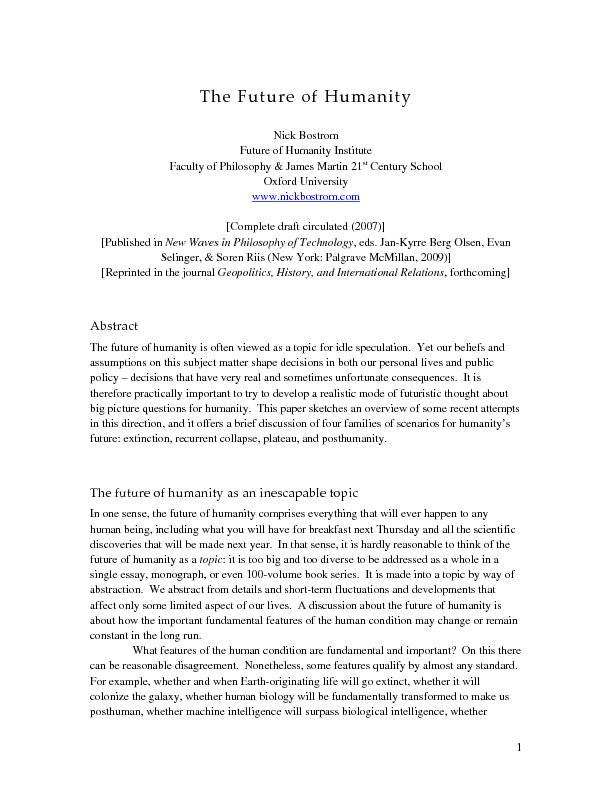 FutureNick Bostrom Future of Humanity Institute Faculty of Philosophy