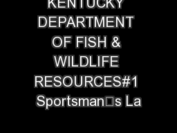 Kentucky department of fish wildlife resources sportsmans for Ky fish and wildlife