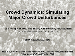 Crowd Dynamics: Simulating PowerPoint PPT Presentation