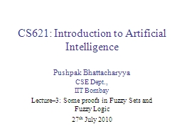 CS621: Introduction to Artificial Intelligence PowerPoint PPT Presentation