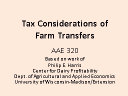 Tax Considerations of
