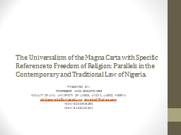 The Universalism of the Magna Carta with Specific Reference