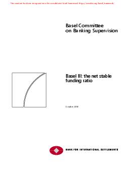Basel Committee on Banking Supervision Basel III he et table unding atio October   This publication is available on the BIS website www PowerPoint PPT Presentation