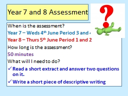 Year 7 and 8 Assessment
