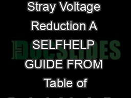 Equipotential Planes for Stray Voltage Reduction A SELFHELP GUIDE FROM  Table of Contents Introduction