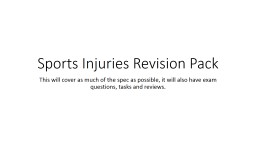 Sports Injuries Revision Pack