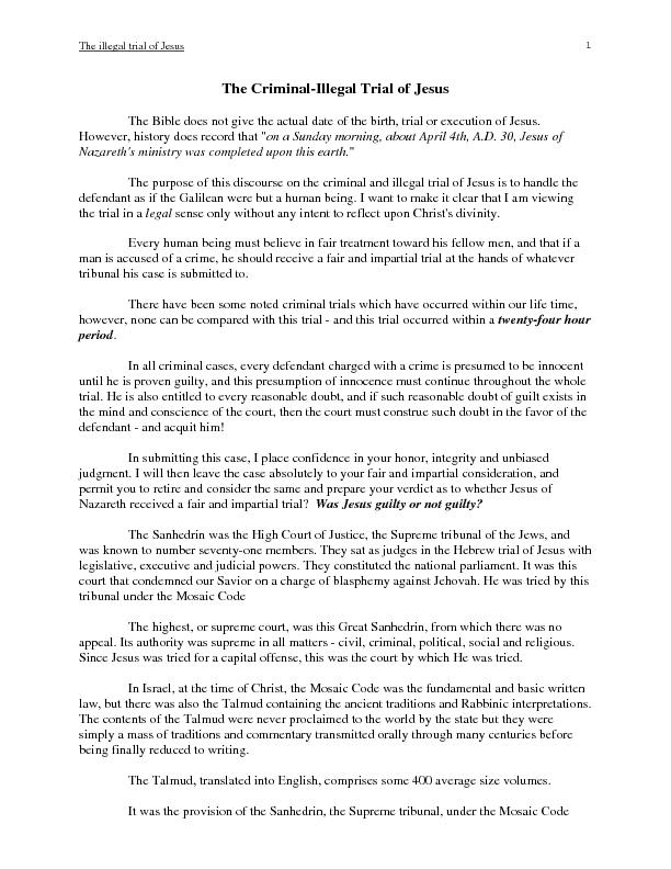 The illegal proceeding of christs trial essay