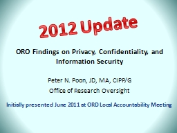 ORO Findings on Privacy, Confidentiality, and Information S
