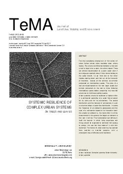 TeMA Journal of Land Use Mobilit y and Environment TeMA    print ISSN  e ISSN  DOI