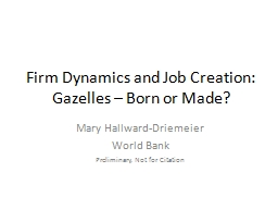 Firm Dynamics and Job Creation: