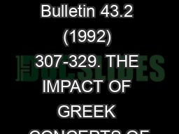 Tyndale Bulletin 43.2 (1992) 307-329. THE IMPACT OF GREEK CONCEPTS OF