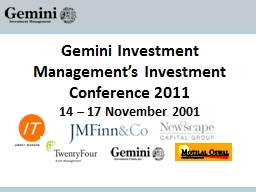 Gemini Investment Management's Investment Conference 2011 PowerPoint PPT Presentation