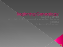 Beginning Genealogy