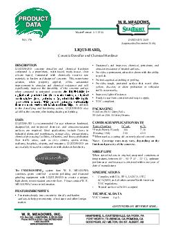 DESCRIPTION LIQUIHARD concrete densifier and chemical hardener compound is a readytouse colo rless liquid formulated with chemically reactive raw materi als to harden and dustproof concrete