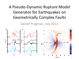 A Pseudo-Dynamic Rupture Model Generator for Earthquakes on