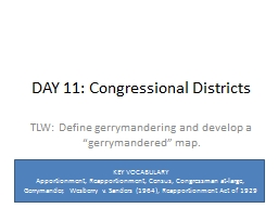 DAY 11: Congressional Districts