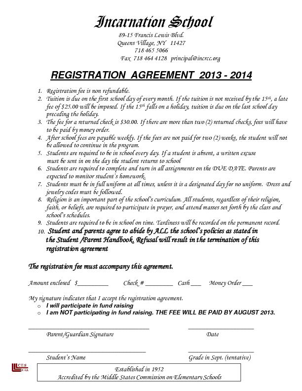 Fax  718 464 4128 principal@incrcc.org REGISTRATION  AGREEMENT  2013 - PowerPoint PPT Presentation