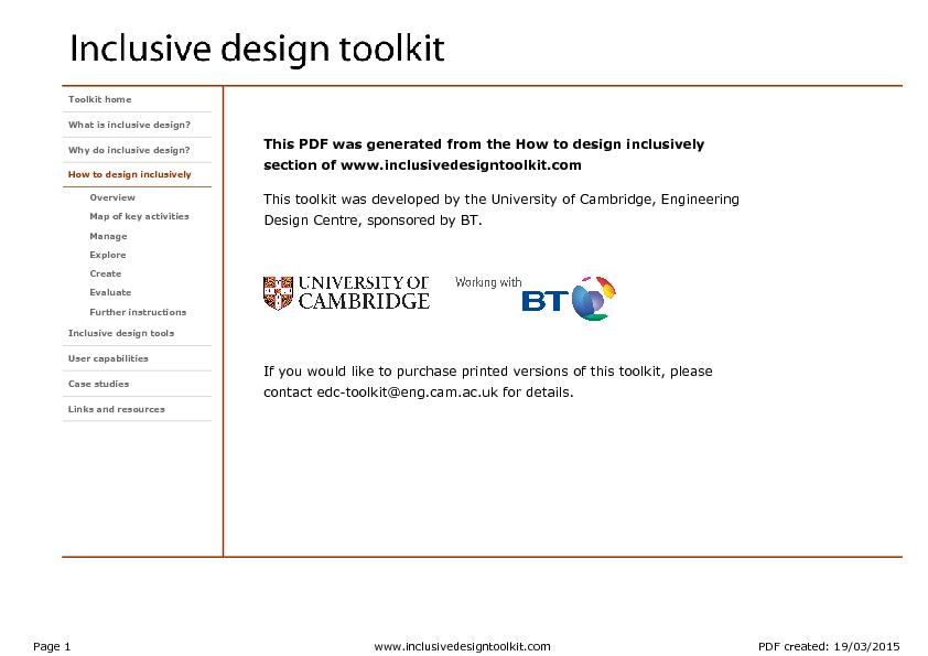 e How to design inclusively  This toolkit was developed by the Univers