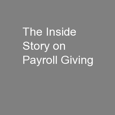 The Inside Story on Payroll Giving