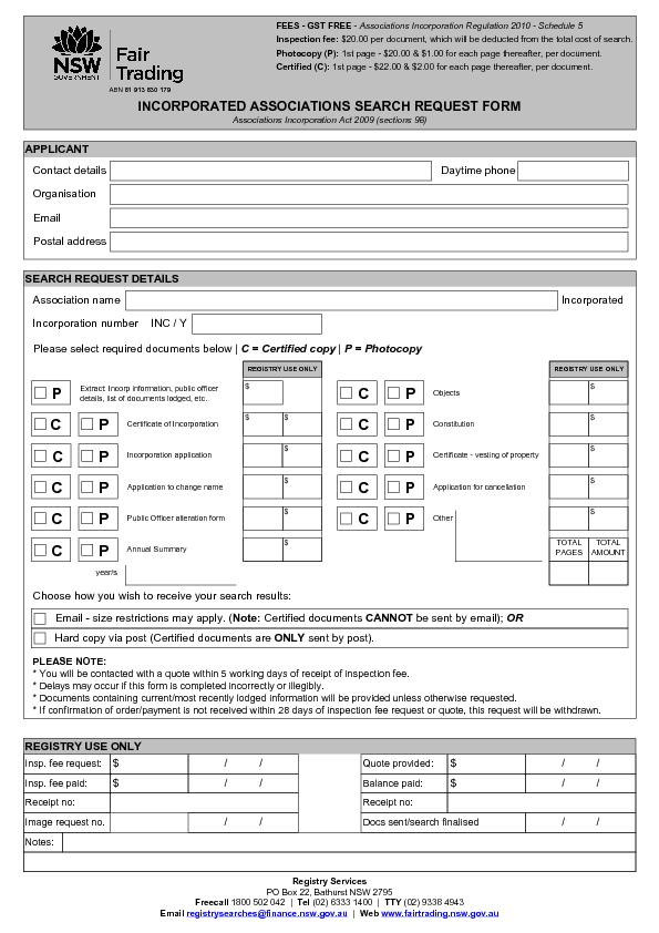 INCORPORATED ASSOCIATIONS SEARCH REQUEST FORM Associations Incorporati