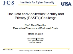 1 The Data and Application Security and Privacy (DASPY) Cha