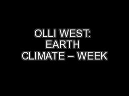 OLLI WEST: EARTH CLIMATE – WEEK