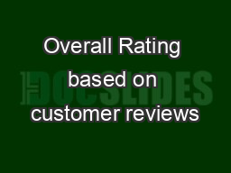 Overall Rating based on customer reviews