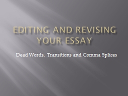Editing and Revising your Essay PowerPoint PPT Presentation