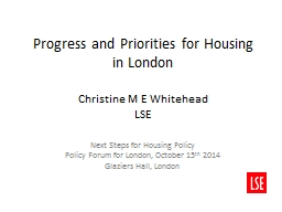 Progress and Priorities for Housing in London