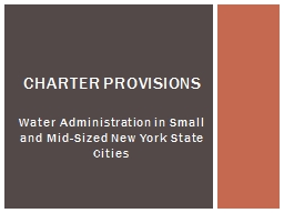 Water Administration in Small and Mid-Sized New York State