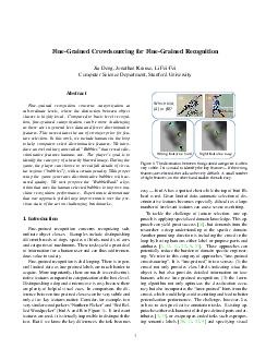 FineGrained Crowdsourcing for FineGrained Recognition Jia Deng Jonathan Krause L