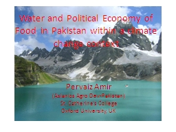 Water and Political Economy of Food  in Pakistan within a c