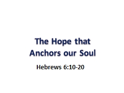 The Hope that Anchors our Soul PowerPoint PPT Presentation