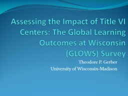 Assessing the Impact of Title VI Centers: The Global Learni