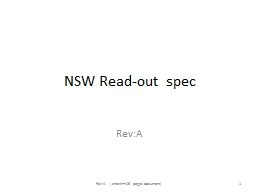 NSW Read-out  spec