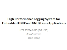High Performance Logging System for Embedded UNIX and GNU/L