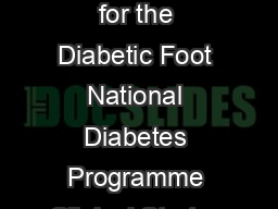 Model of Care for the Diabetic Foot National Diabetes Programme Clinical Strateg