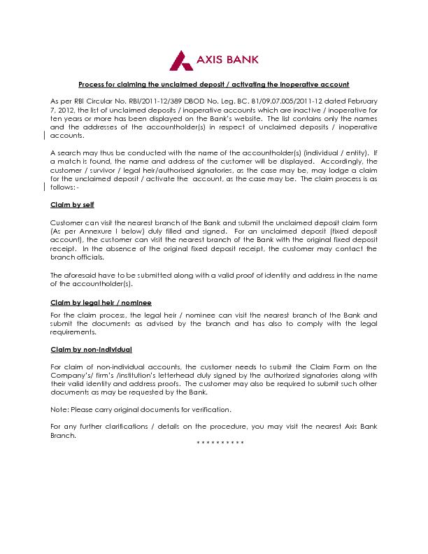 Process for claiming the unclaimed deposit / activating the inoperativ