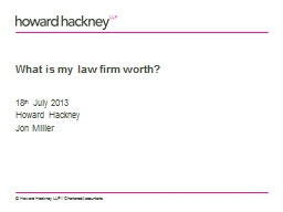 What is my law firm worth? PowerPoint PPT Presentation