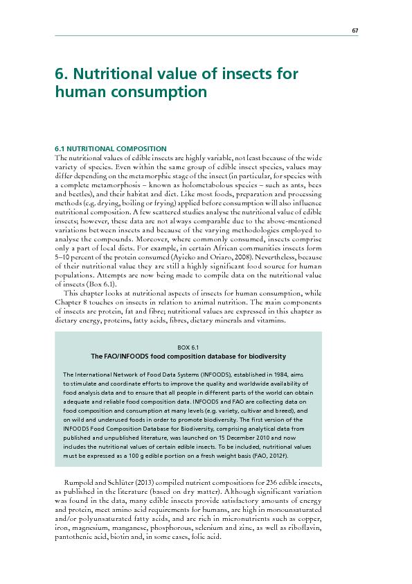6. utritional value of insects for human consumption 6.1 NUIONAOMPOIOT