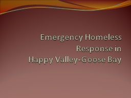 Emergency Homeless Response in