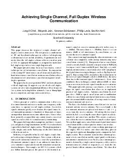 Achieving Single Channel Full Duplex Wireless Communication Jung Il Choi  Mayank