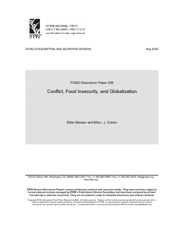FOOD CONSUMPTION AND NUTRITION DIVISION