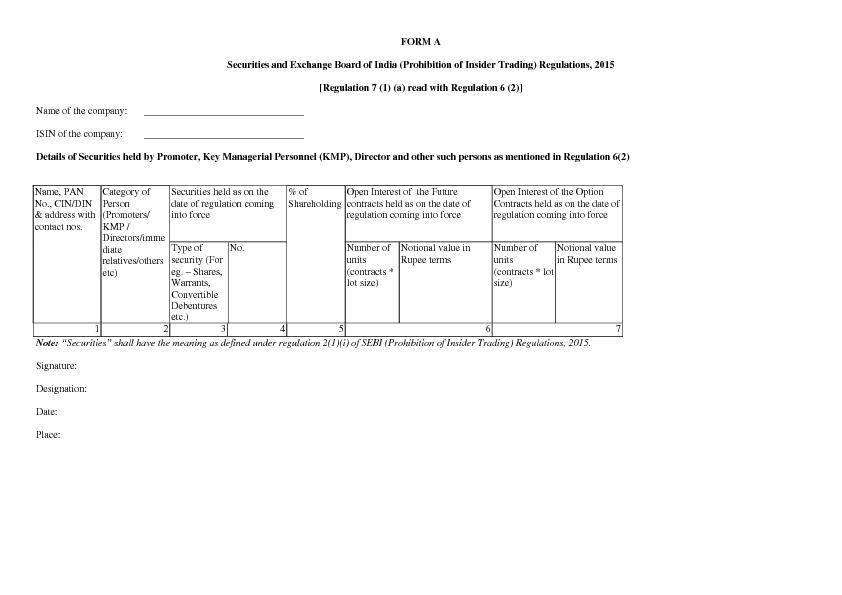 FORM A Securities and Exchange Board of India (Prohibition of Insider