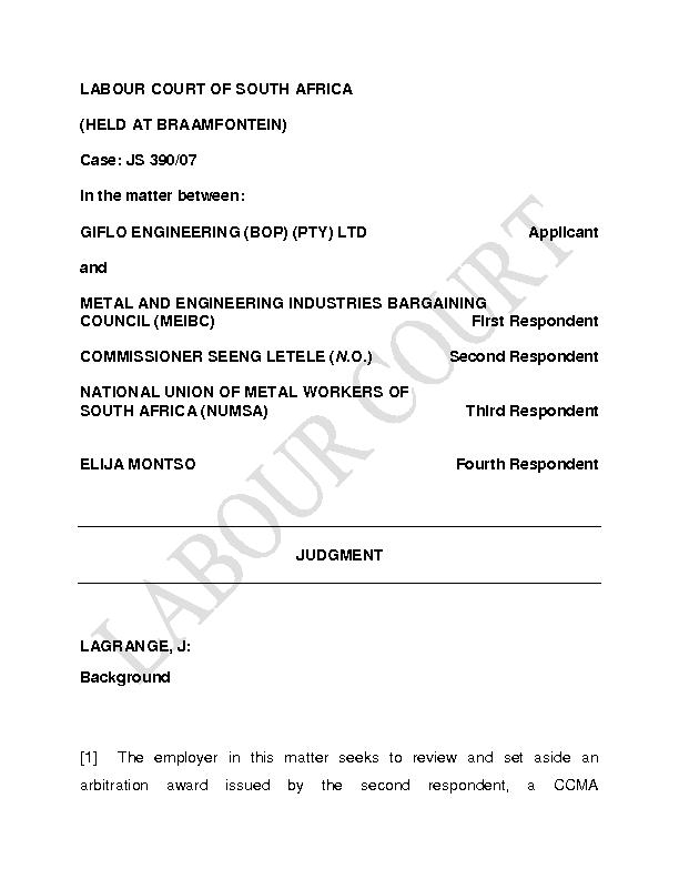 LABOUR COURT OF SOUTH AFRICA