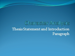 Character Analysis PowerPoint PPT Presentation