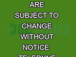 HHH Page SPECIFICATIONS ARE SUBJECT TO CHANGE WITHOUT NOTICE  TELEDYNE RELAYS www